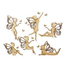 6 x 7.5-10cm Fairies with Butterflies Silhouette Collection Cut from 3mm MDF